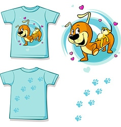 Shirt with cute dachshund carries on his back a vector