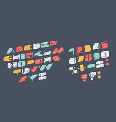 slanted sans serif font vector image
