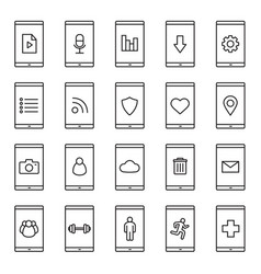 smartphone apps linear icons set vector image
