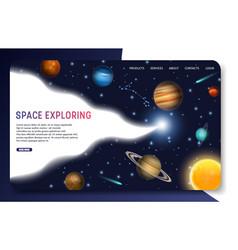 space exploring landing page website vector image