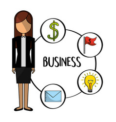 standing business woman with business icons vector image