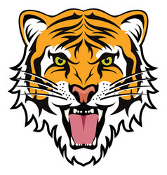 stylized face of angry tiger vector image