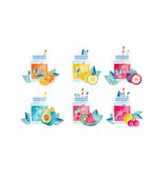 summer fruit smoothie drinks set fresh healthy vector image