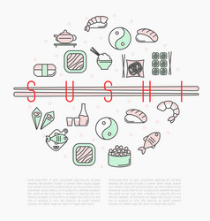Sushi bar circle concept with thin line icons vector