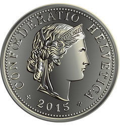 Swiss money 20 centimes silver coin vector
