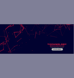 Technology banner with red network lines mesh vector