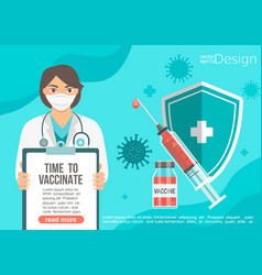 time to vaccinate banner in female doctors hands vector image