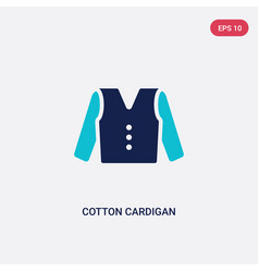 Two color cotton cardigan icon from clothes vector