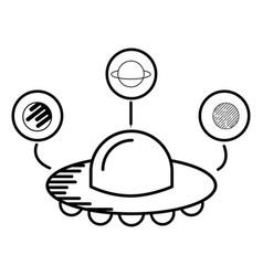 ufo spaceship planets astrology cartoon vector image