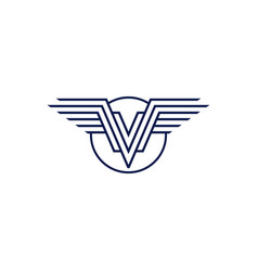 v wings logo emblem vector image
