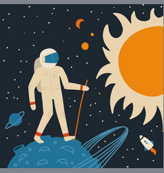 Walking on moon spaceman with stick vector
