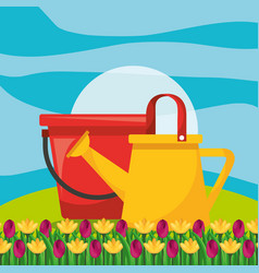 watering can with bucket and flower garden vector image