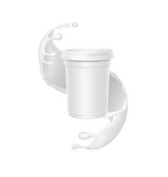 white yogurt box in a splash of milk vector image