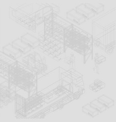 wireframe workers in warehouse vector image