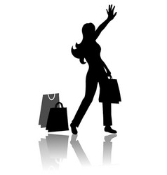 woman silhouette with shopping bags vector image