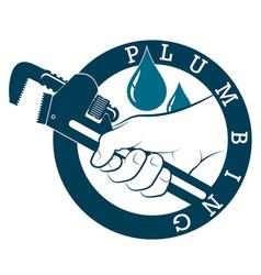 Wrench in hand plumbing repair vector