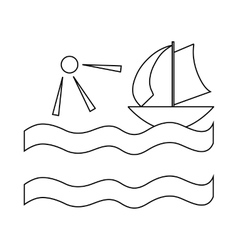 Yacht and sun icon in outline style vector