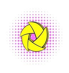 Yellow camera aperture icon comics style vector