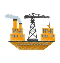 yellow ship cargo crane chimney vector image