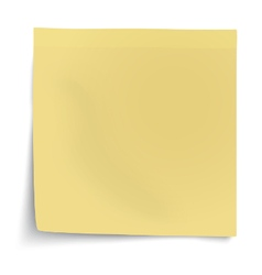 Yellow sticky note with turned up corner isolated vector image vector image