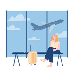 Young woman character with luggage waiting flight vector