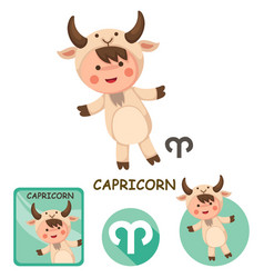 capricorn collection zodiac signs vector image