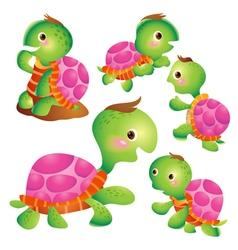Cute turtle cartoon pink vector image vector image