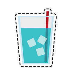 glass of water with ice and straw icon image vector image