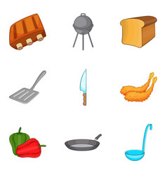 grilled food icons set cartoon style vector image vector image
