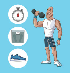 healthy man athletic muscular weight scale sneaker vector image