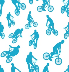 Seamless ride bicycle pattern background vector image