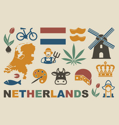 traditional symbols of the netherlands vector image