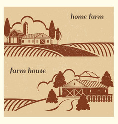 vintage countryside landscape with farm scene - vector image