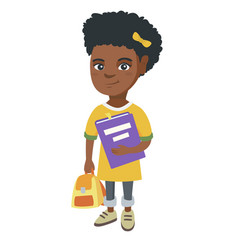 african-american pupil with backpack and textbook vector image vector image