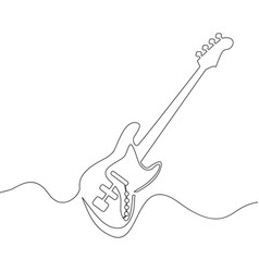 continuous line drawing of electric guitar vector image