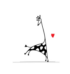 giraffe in love funny sketch for your design vector image