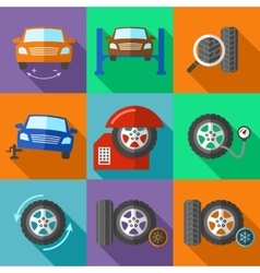 Tire wheel service icons set in flat design style vector image