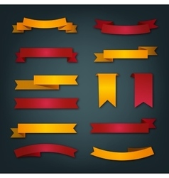 Collection of retro ribbons in red and yellow vector image