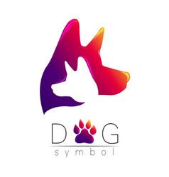 dog logo violet pink yellow tren gradient vector image