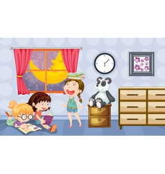 Girls reading books in a room vector image