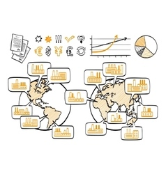 Global business doodle concept vector image vector image