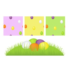 Grass easter eggs and pattern vector image