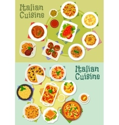 Italian cuisine pasta and pizza dishes icon vector image vector image