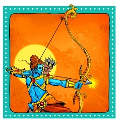 Lord Rama with bow arrow killimg Ravana vector image vector image