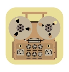 reel tape recorder icon on yellow background vector image vector image
