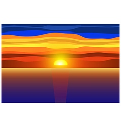 Sunset and sea vector image