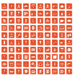 100 renovation icons set grunge orange vector