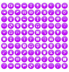 100 show business icons set purple vector