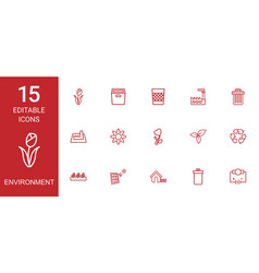 15 environment icons vector image
