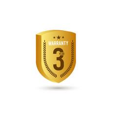 3 years warranty gold d template design vector